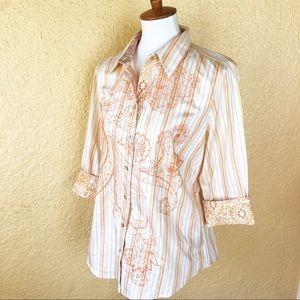 Robert Graham Embroidered Orange Button-Up Shirt